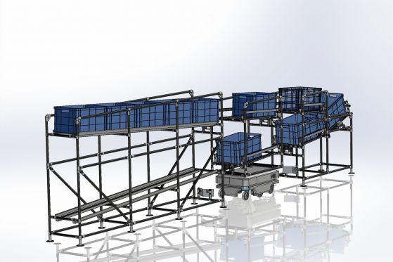 MiR200 pro převážení KLT boxů s MiR Fleet
